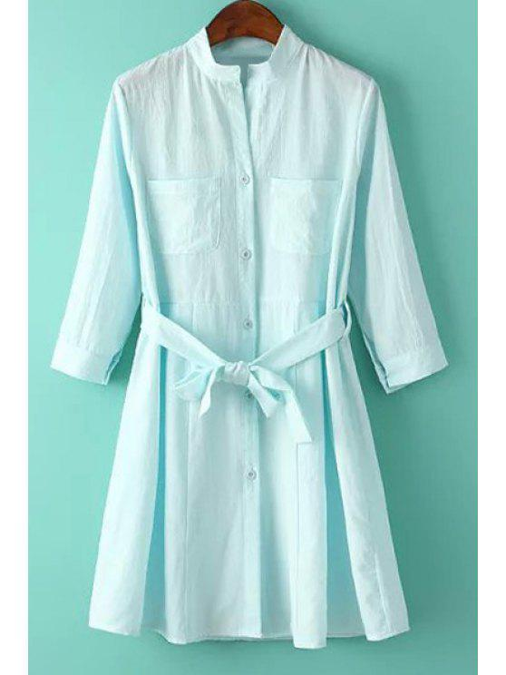 women Solid Color Stand Neck 3/4 Sleeve Shirt - LIGHT BLUE L