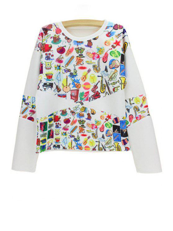 online Stylish Round Neck Long Sleeve Music Instrument Print Women's Sweatshirt - WHITE ONE SIZE(FIT SIZE XS TO M)
