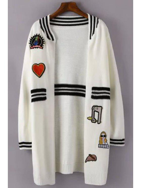 new Color Block Stripe Applique Embellished Cardigan - WHITE ONE SIZE(FIT SIZE XS TO M)