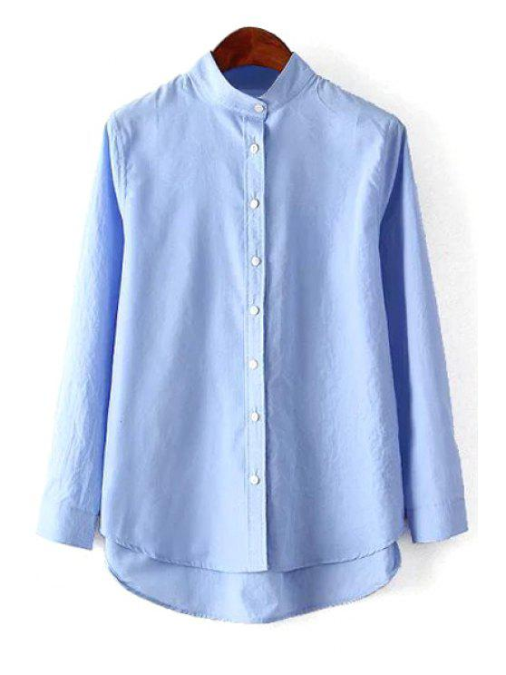outfits Solid Color Stand Neck Long Sleeve Shirt - BLUE S