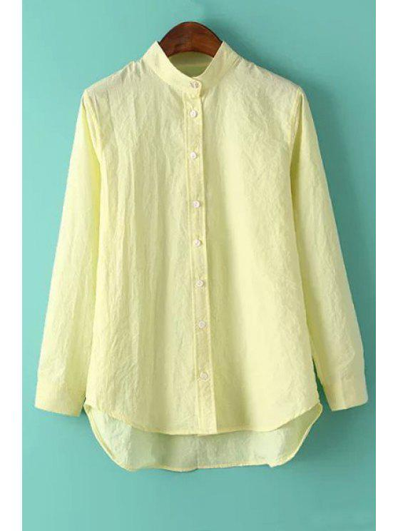 Solid Color Stand Neck Long Sleeve Shirt Yellow Blouses S