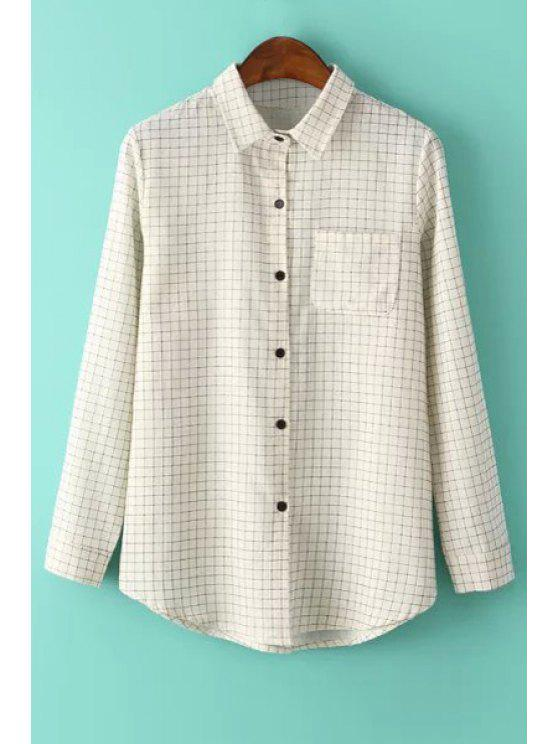 affordable Checked Shirt Neck Long Sleeve Shirt - BEIGE S