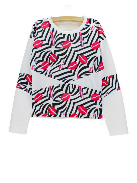 outfit Stylish Round Neck Long Sleeve Red Lip Print Women's Sweatshirt - WHITE ONE SIZE(FIT SIZE XS TO M)
