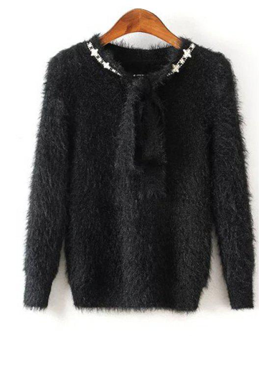 sale Solid Color Self Tie Long Sleeve Pullover Sweater - BLACK ONE SIZE(FIT SIZE XS TO M)