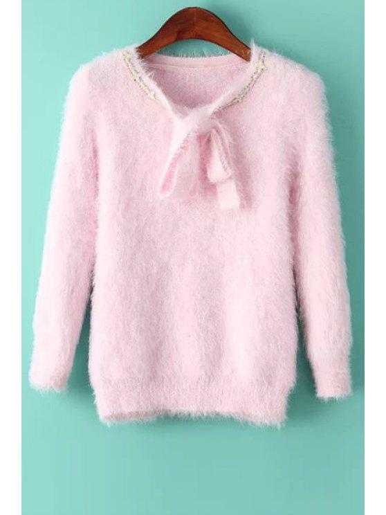 womens Solid Color Self Tie Long Sleeve Pullover Sweater - PINK ONE SIZE(FIT SIZE XS TO M)