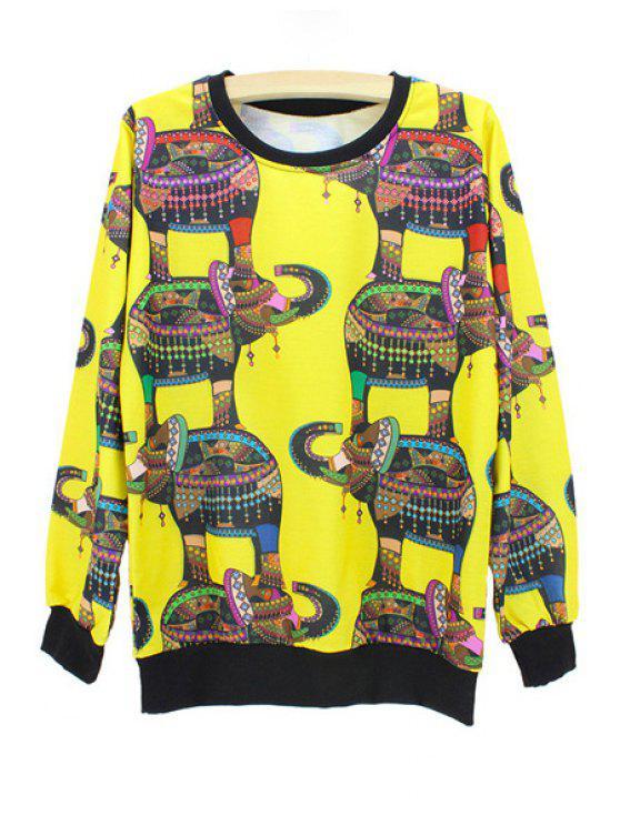 outfits Elephant Print Sweatshirt - YELLOW M
