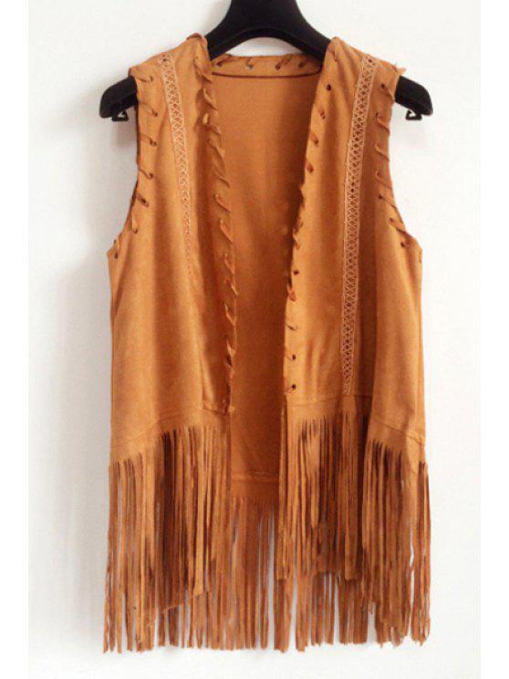 sale Solid Color Fringe Sleeveless Waistcoat - KHAKI ONE SIZE(FIT SIZE XS TO M)