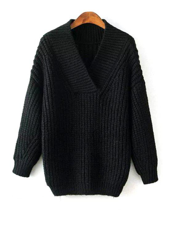women Solid Color V Neck Long Sleeve Pullover Sweater - BLACK ONE SIZE(FIT SIZE XS TO M)