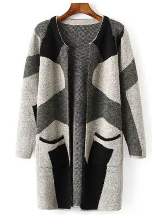 shops Jewel Neck Color Block Pocket Long Sleeve Cardigan - GREEN ONE SIZE(FIT SIZE XS TO M)