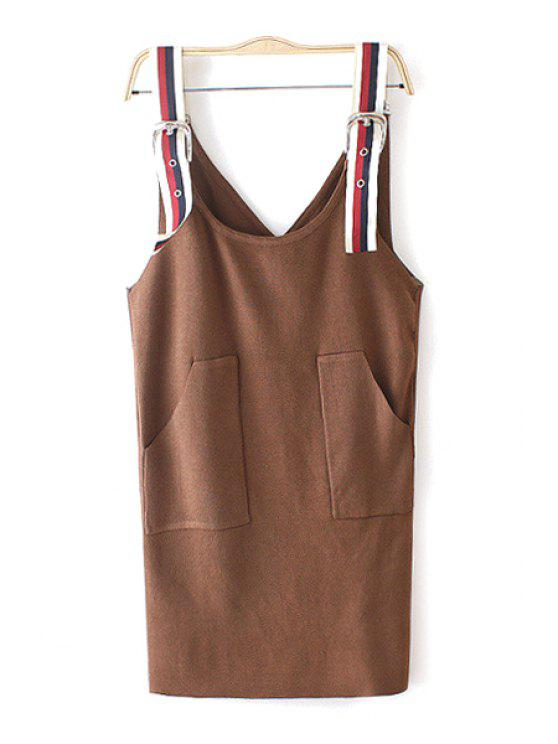 fashion Knitted Pocket Design Braces Skirt - KHAKI ONE SIZE(FIT SIZE XS TO M)