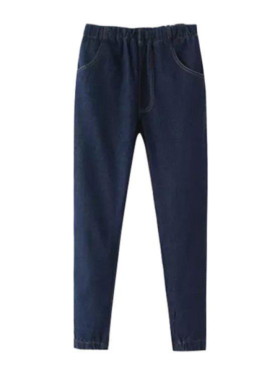 shops Cadetblue Elastic Waist Narrow Feet Jeans - CADETBLUE 26