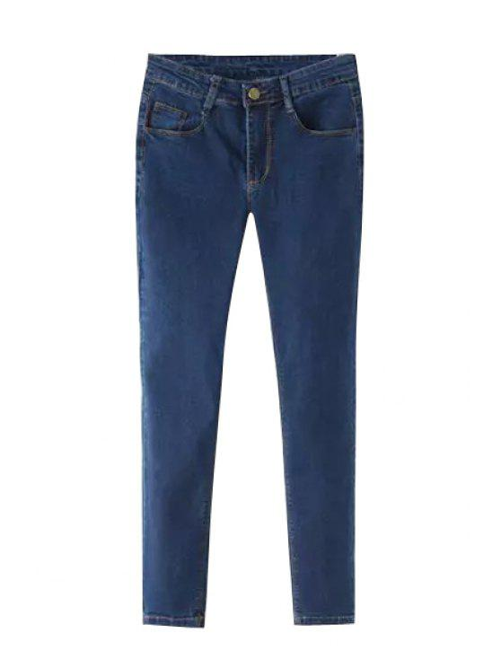 chic Deep Blue Low Waist Narrow Feet Jeans - DEEP BLUE 26