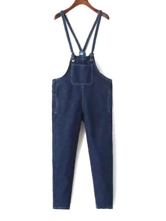 trendy Blue Denim Straps Overalls - BLUE M