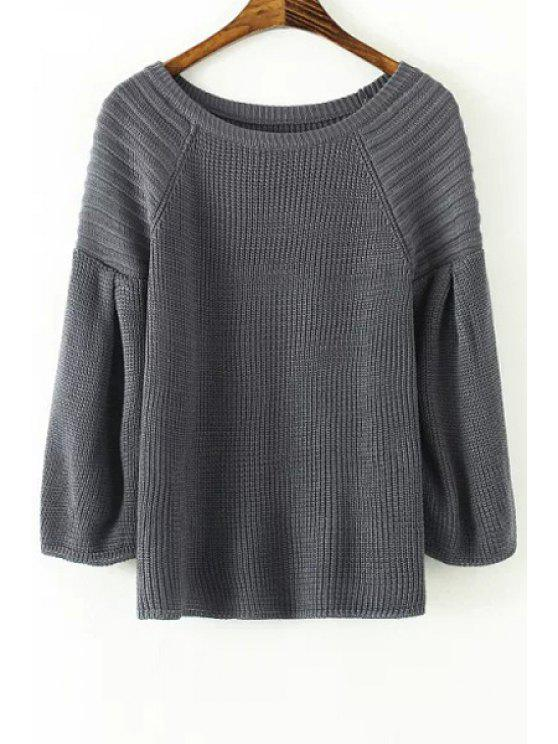 shops Lantern Sleeve Loose-Fitting Sweater - GRAY ONE SIZE(FIT SIZE XS TO M)