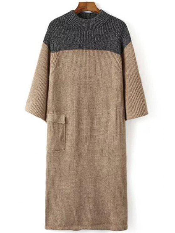 new Round Neck Color Block Splicing Back Slit Dress - KHAKI ONE SIZE(FIT SIZE XS TO M)