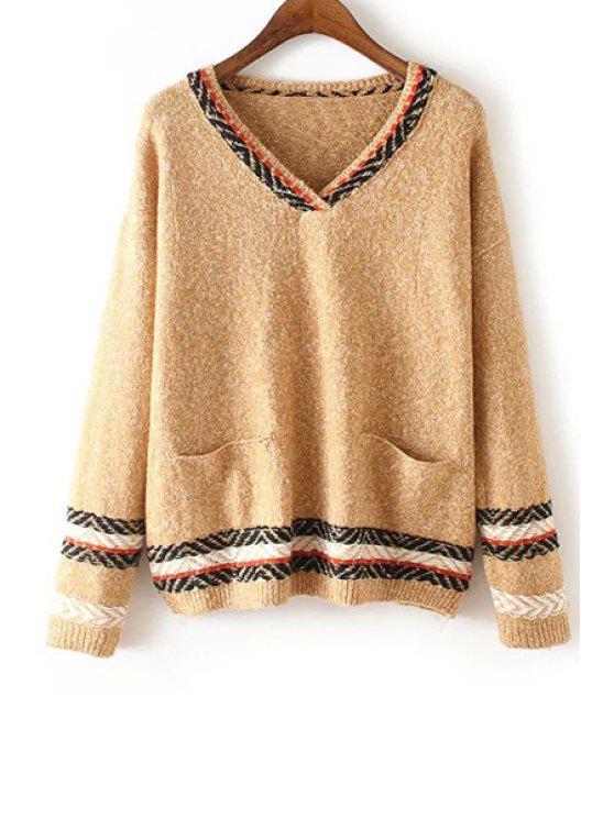 Suéter de dos bolsillos con cuello en V - Caqui Un tamaño(Montar tam