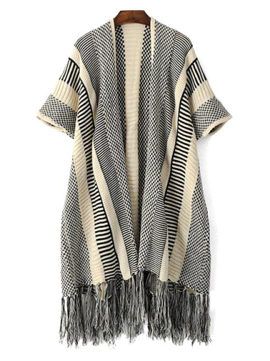 online Open Front Short Sleeve Tassels Cardigan - GRAY ONE SIZE(FIT SIZE XS TO M)