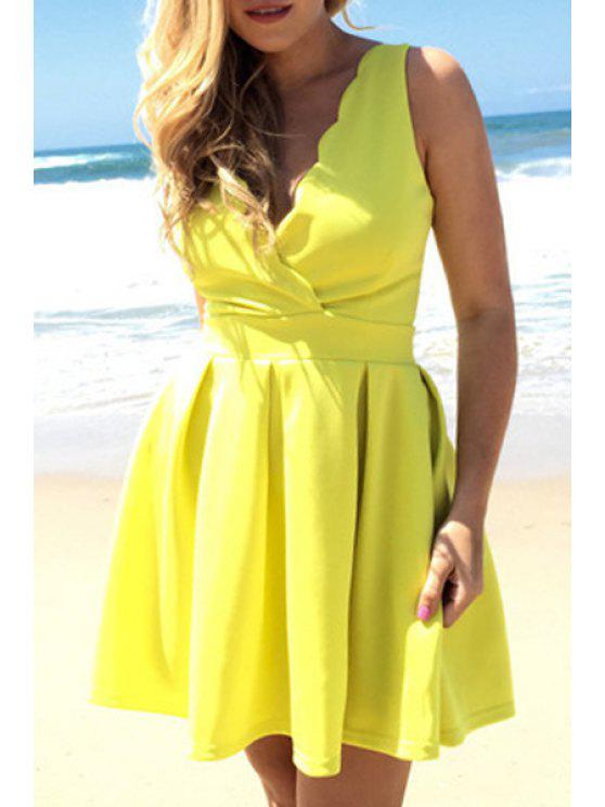online Yellow Plunging Neck Sleeveless Flare Dress - YELLOW S
