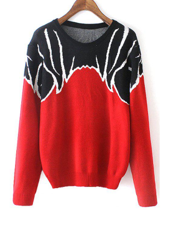 hot Color Block Jacquard Jumper - RED ONE SIZE(FIT SIZE XS TO M)