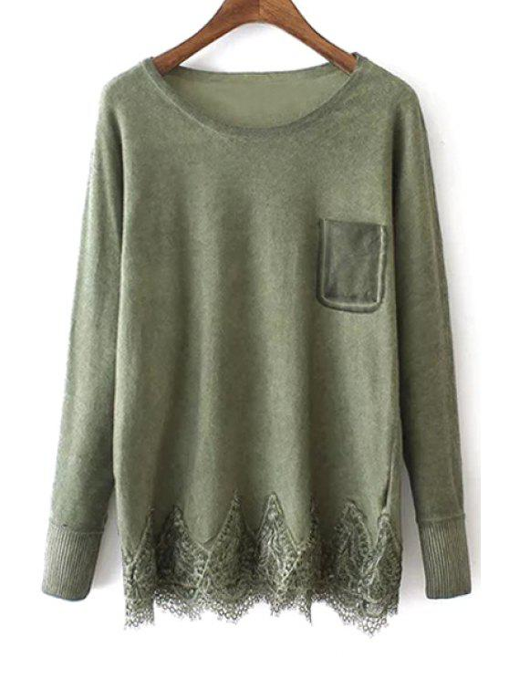 outfits Lace Hem Patchwork Pocket Sweater - GREEN ONE SIZE(FIT SIZE XS TO M)