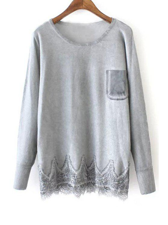 shop Lace Hem Patchwork Pocket Sweater - GRAY ONE SIZE(FIT SIZE XS TO M)
