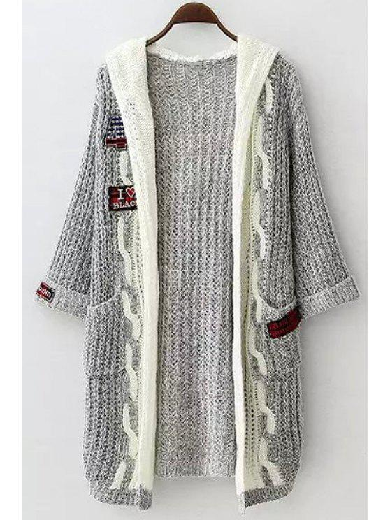 hot Hooded Applique Embellished Long Sleeve Cardigan - GRAY ONE SIZE(FIT SIZE XS TO M)