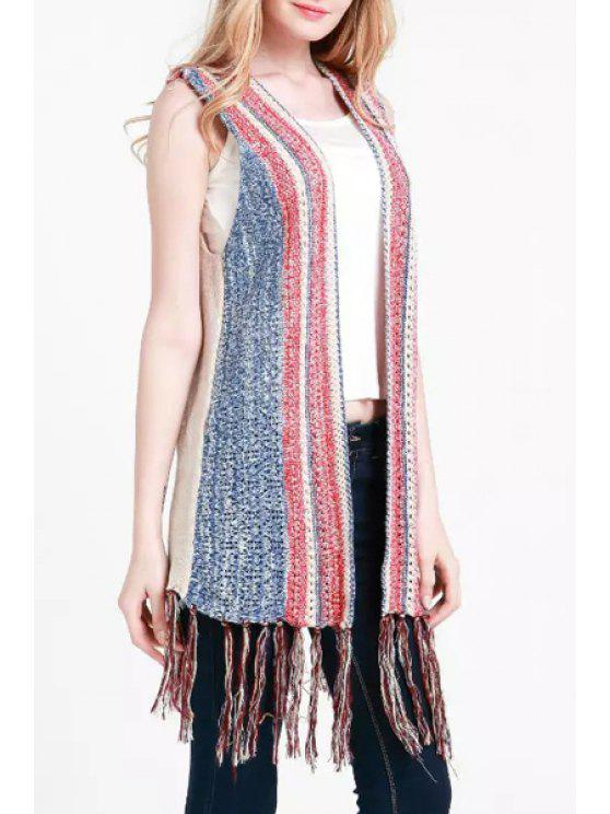 shops Open Front Tassels Knitted Waistcoat - LIGHT BLUE ONE SIZE(FIT SIZE XS TO M)