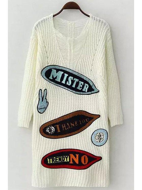shop Letter Applique Embellished Long Sleeve Sweater - WHITE ONE SIZE(FIT SIZE XS TO M)
