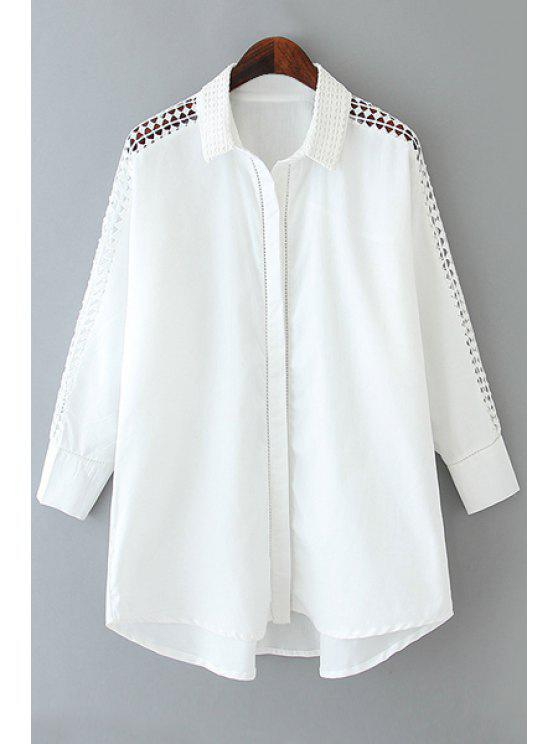 trendy Long Sleeve Openwork White Shirt - WHITE S