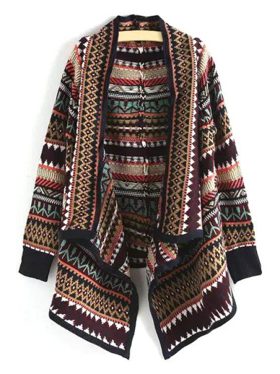 trendy Ethnic Pattern Turn Down Collar Long Sleeve Cardigan - BLACK ONE SIZE(FIT SIZE XS TO M)