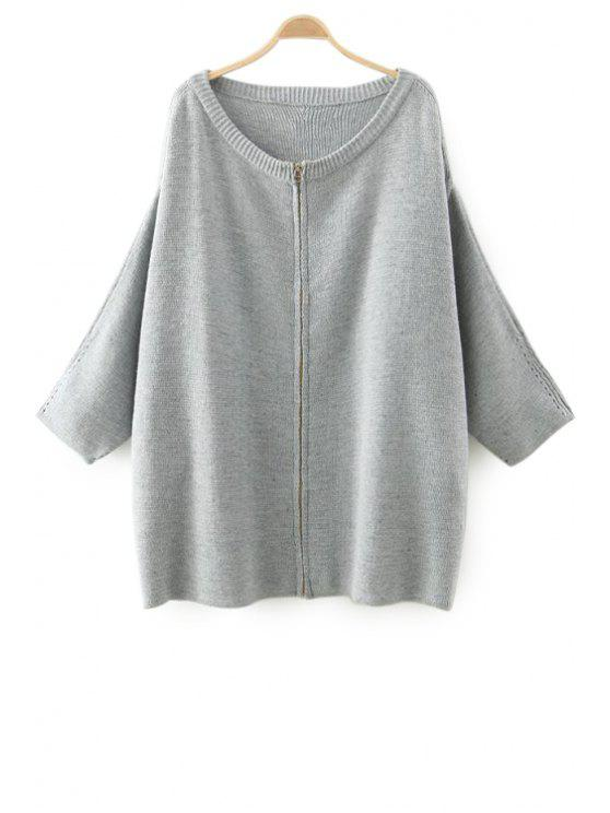 women Solid Color Zipper Fly Long Sleeve Cardigan - GRAY ONE SIZE(FIT SIZE XS TO M)