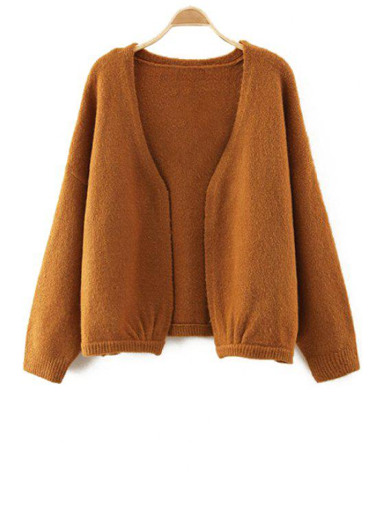 outfit V-Neck Pure Color Long Sleeve Cardigan - BROWN ONE SIZE(FIT SIZE XS TO M)