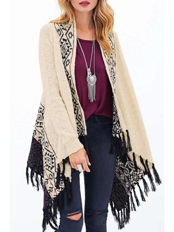 chic Tassels Long Sleeve Cardigan - OFF-WHITE M