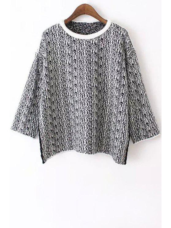 shops Color Mixture Long Sleeve Sweater - GRAY ONE SIZE(FIT SIZE XS TO M)