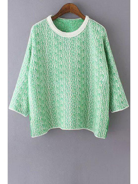 trendy Color Mixture Long Sleeve Sweater - GREEN ONE SIZE(FIT SIZE XS TO M)