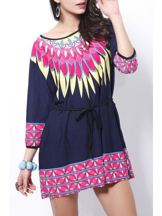 buy Colorful Print Scoop Neck 3/4 Sleeve Dress - PURPLISH BLUE ONE SIZE(FIT SIZE XS TO M)