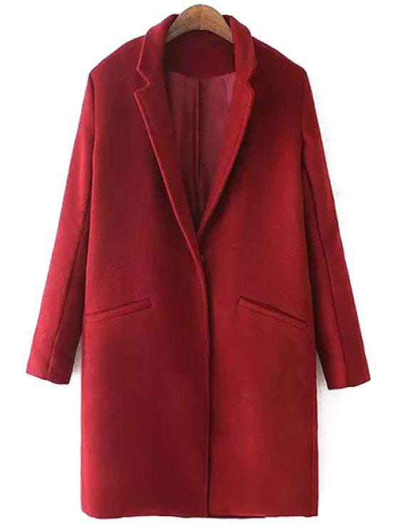 lady Lapel Solid Color Pocket Trench Coat - RED L
