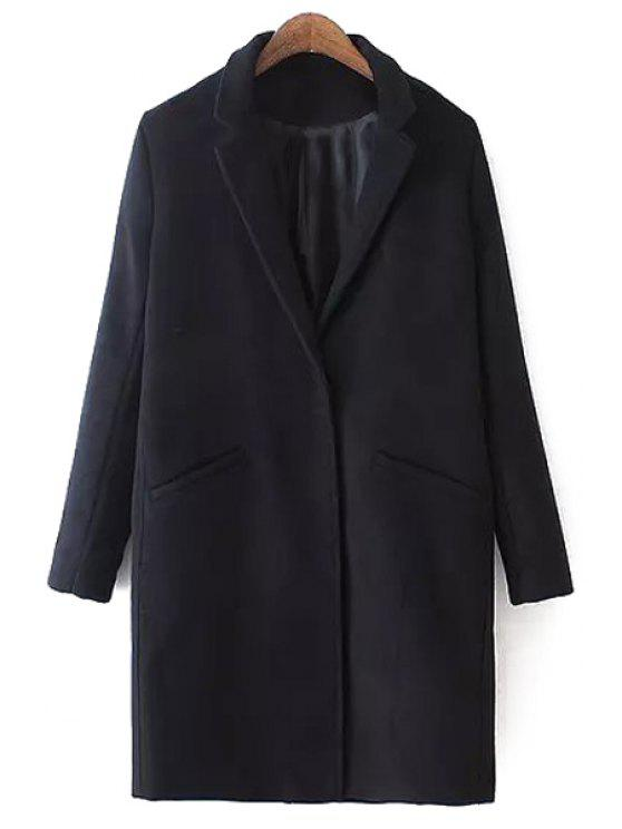 ladies Lapel Solid Color Pocket Trench Coat - BLACK M