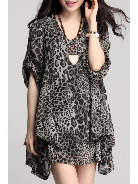 sale Chiffon Irregular Hem Long Sleeves Loose-Fitting Dress - LEOPARD L