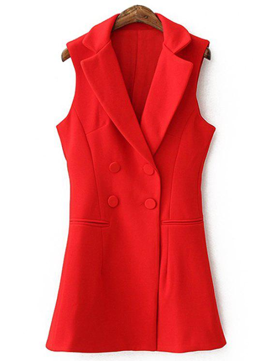 lady Lapel Solid Color Double-Breasted Waistcoat - RED M