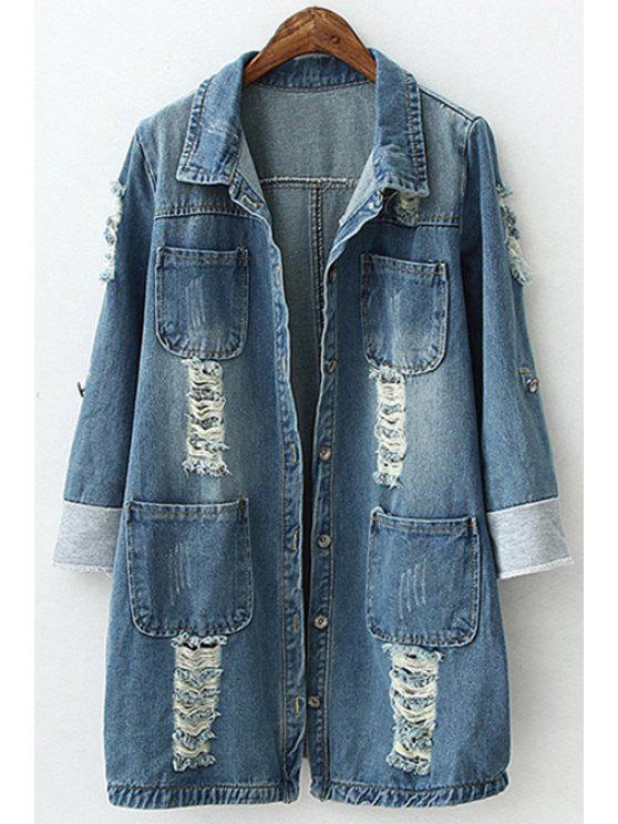shop Destroy Wash Pocket Long Sleeve Coat - AS THE PICTURE S