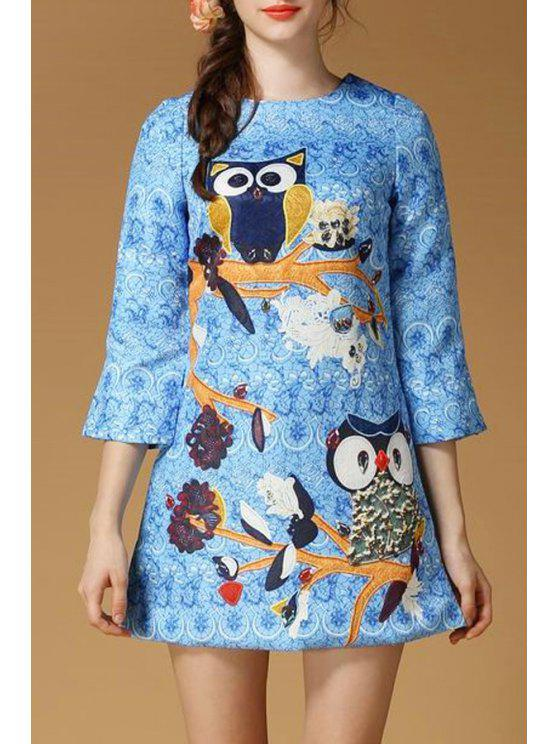 women Animal Pattern Round Collar 3/4  Sleeves Dress - BLUE S