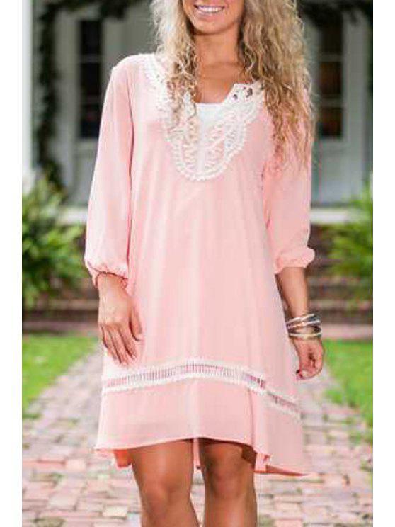 shop Pink V Neck Long Sleeve Dress - PINK S
