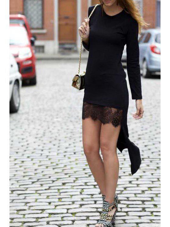buy High Low Long Sleeve Black Dress - BLACK S