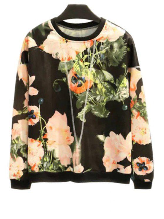 buy Floral Leaves Print Long Sleeve Sweatshirt - BLACK S