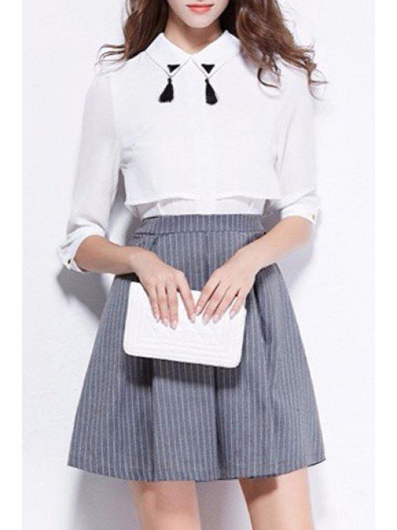 chic Chiffon Stripes Splicing Half Sleeves Flat Neck Dress - GRAY S