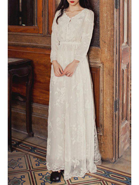 best V-Neck Floral Embroidery Lace Splicing Dress - WHITE S