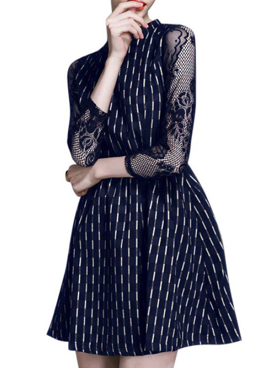 women's Lace Splicing Checked Stand Collar 3/4 Sleeves Dress - DEEP BLUE S