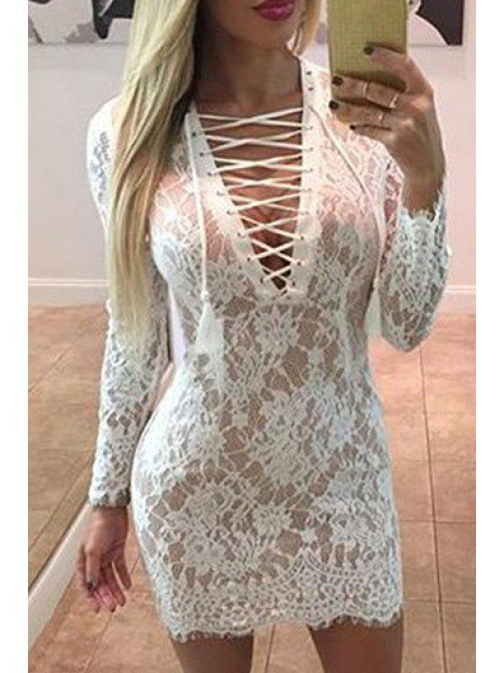 best Openwork Lace Hook White Dress - WHITE S