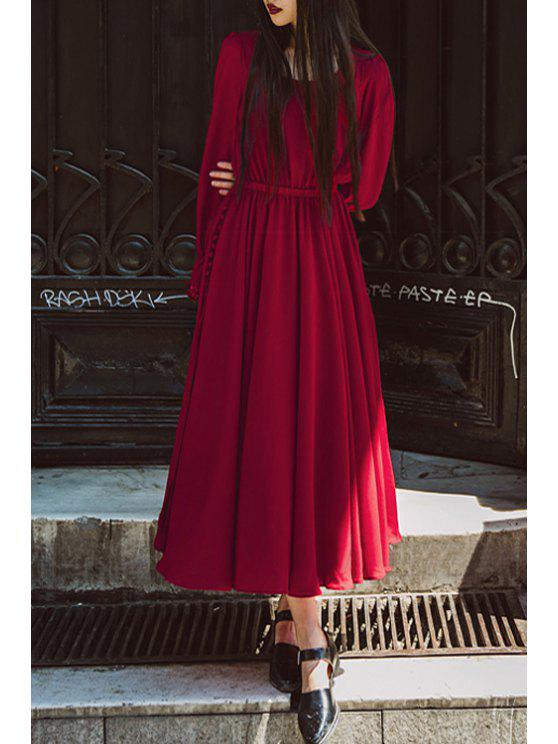 latest Pure Color High Split Long Sleeve Dress - RED S